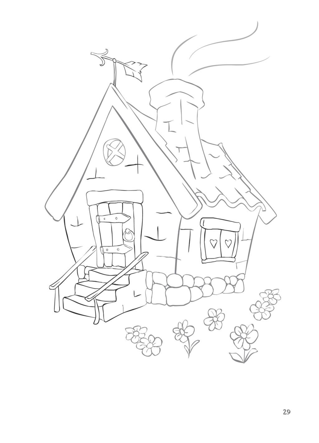 Картинки три поросенка домики раскраска